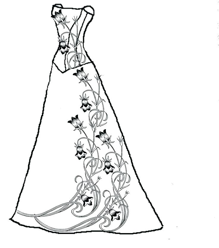 736x833 Dress Coloring Pages Coloring Page Dress Drawn Wedding Dress