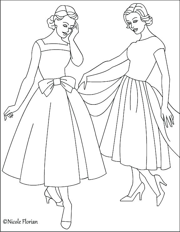 576x744 Barbie Fashion Coloring Pages