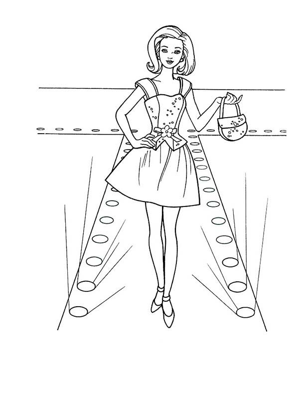 600x800 Barbie Doll Fashion Show Coloring Page Coloring Sun