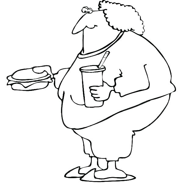 600x612 Good Fast Food Coloring Pages For Fat Boy Eating Fast Food