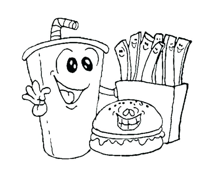 728x569 Printable Food Coloring Pages French Fries Coloring Page Fast Food