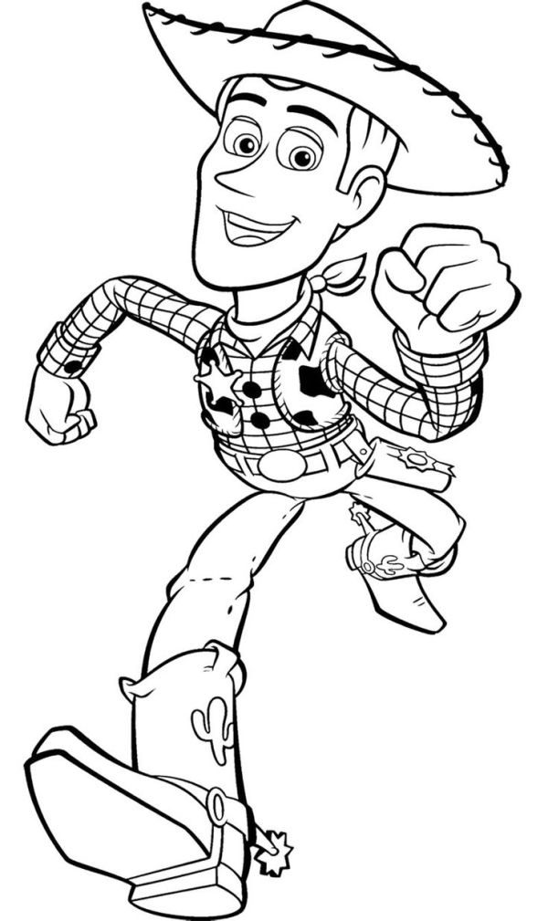600x1009 Toy Story Woody Runs Fast Coloring Page