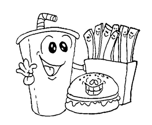 609x501 Printable Fast Food Burger With Drink Coloring Pages Food, Drink