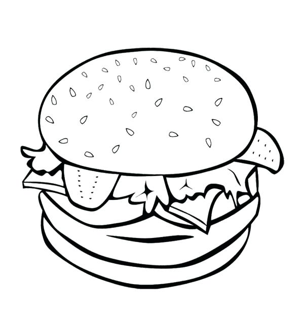 600x611 The Big Burger For Fast Food Coloring Page For Kids Kids Ronald