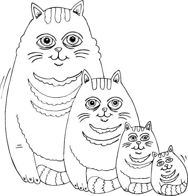 601x624 Fat Cat Family Coloring Page