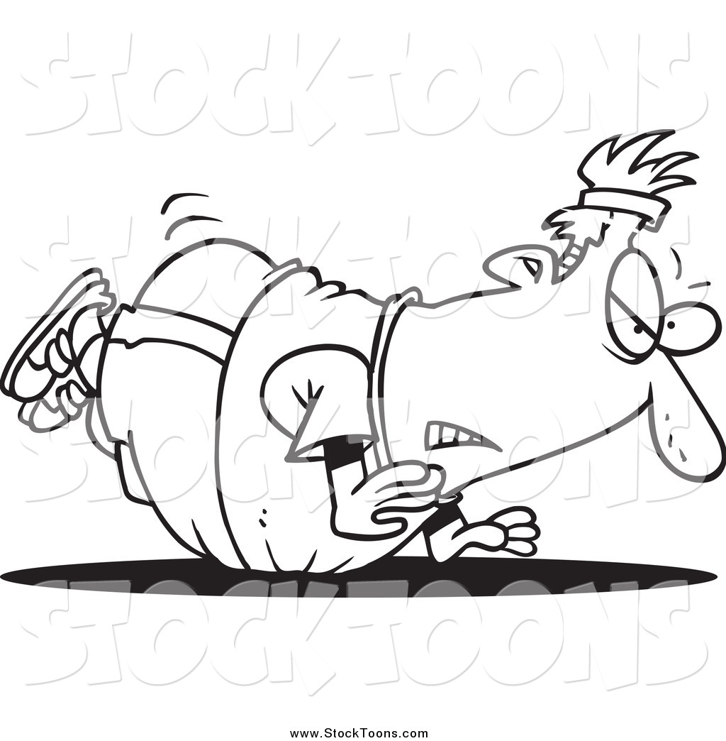 1024x1044 Stock Cartoon Of A Black And White Unfit Fat Man Doing Pushups