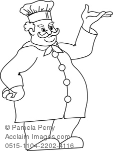 226x300 Clip Art Image Of A Fat Chef Coloring Page