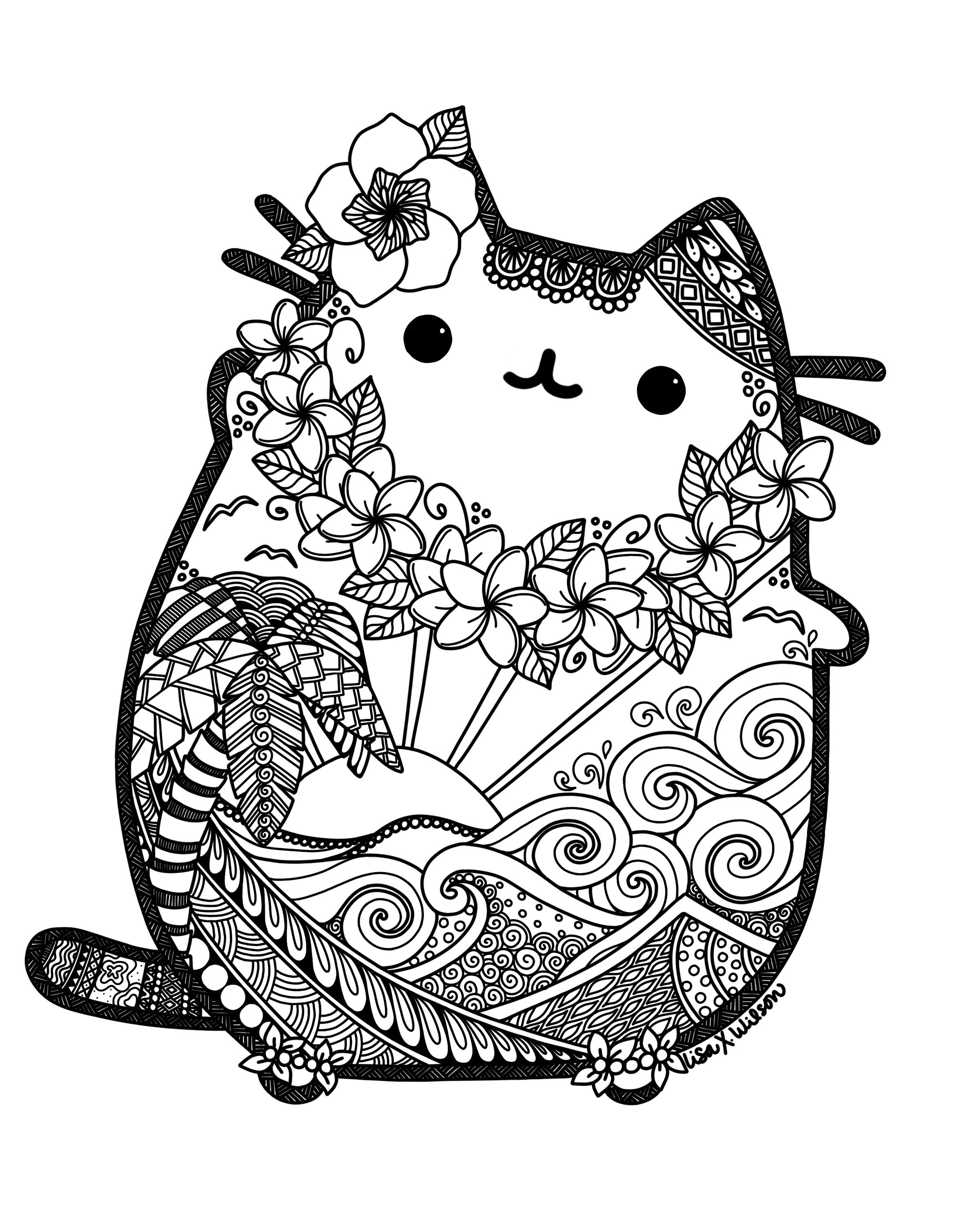 2400x3000 Hawaiian Pusheen Fan Art Pusheen Pusheen, Fan Art