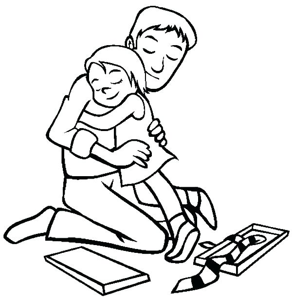600x612 Father And Daughter Coloring Pages Hug Me Daddy I Love Dad