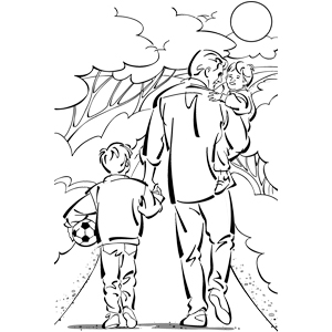 300x300 Father Daughter Son Colouring Pages