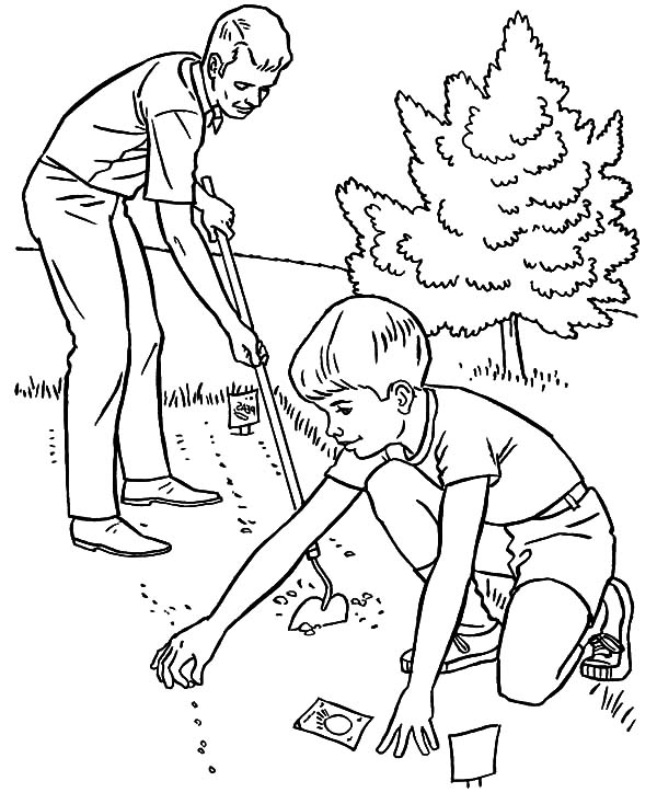 600x734 Father And Son Planting Seed In The Garden Coloring Pages Color Luna