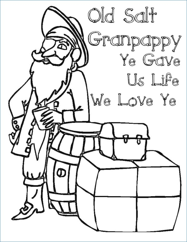 600x776 Fathers Day Grandpa Coloring Pages For Kids