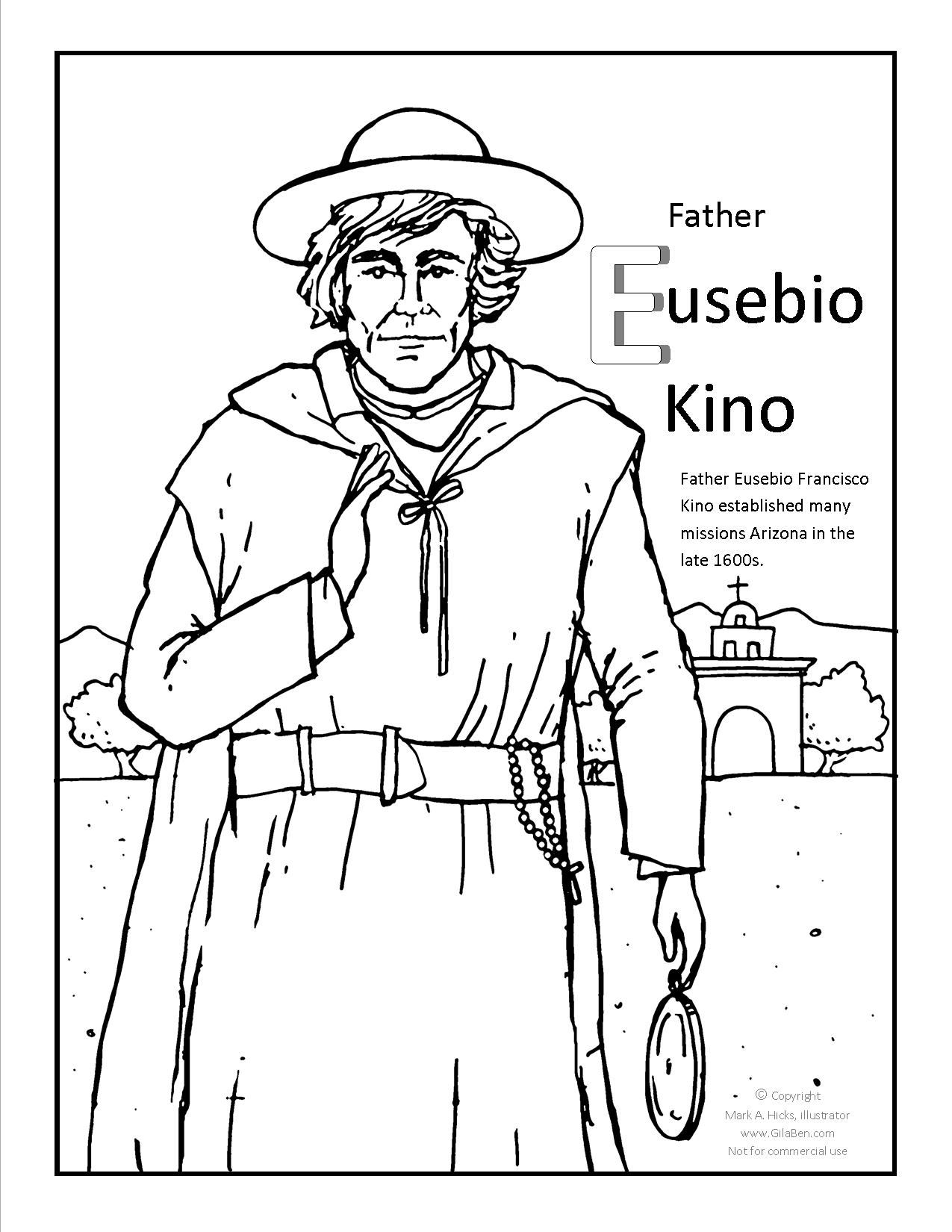 1275x1650 Father Kino Coloring Page