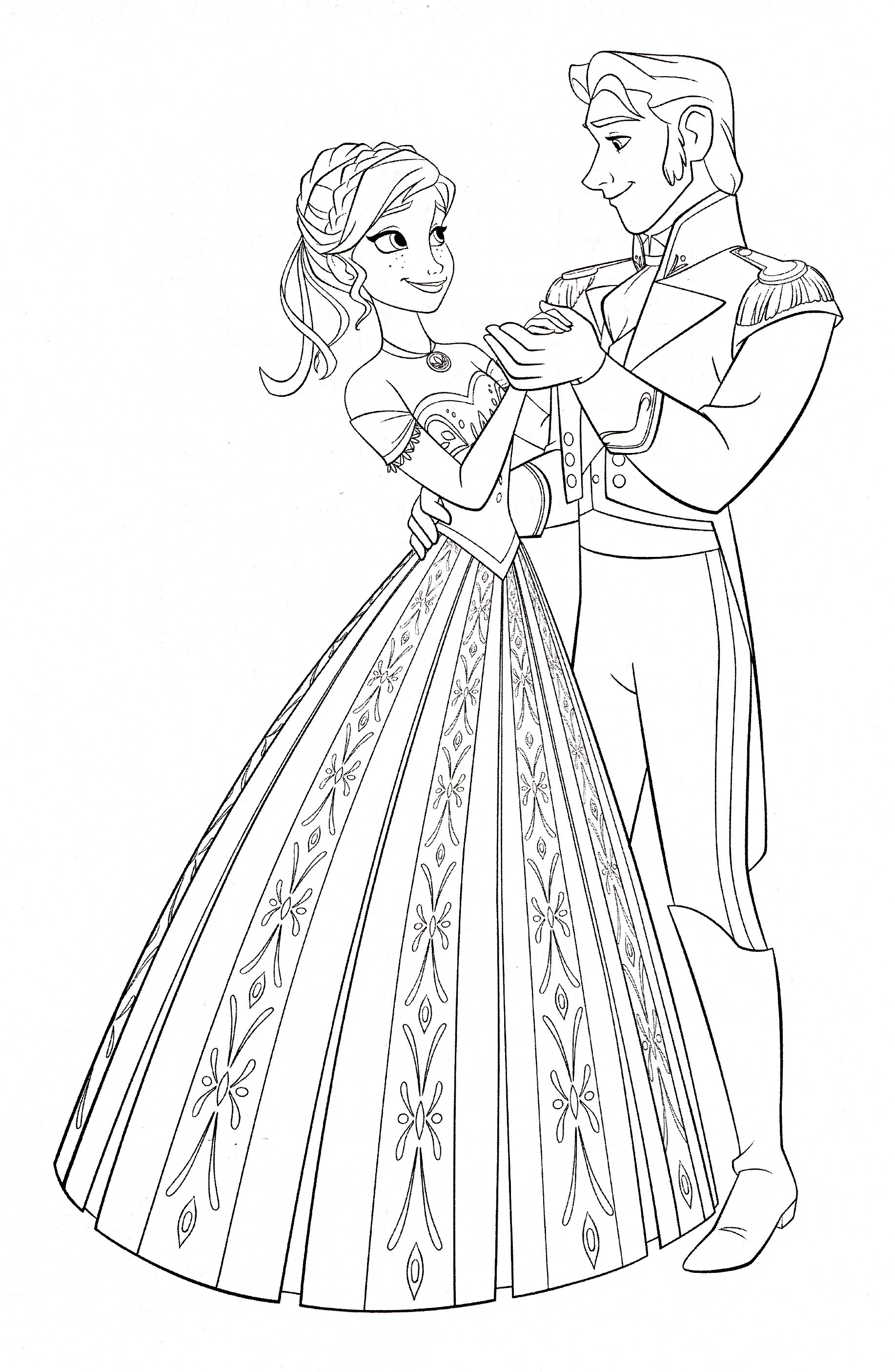 1834x2811 Frozen Anna And Hans Coloring Pages
