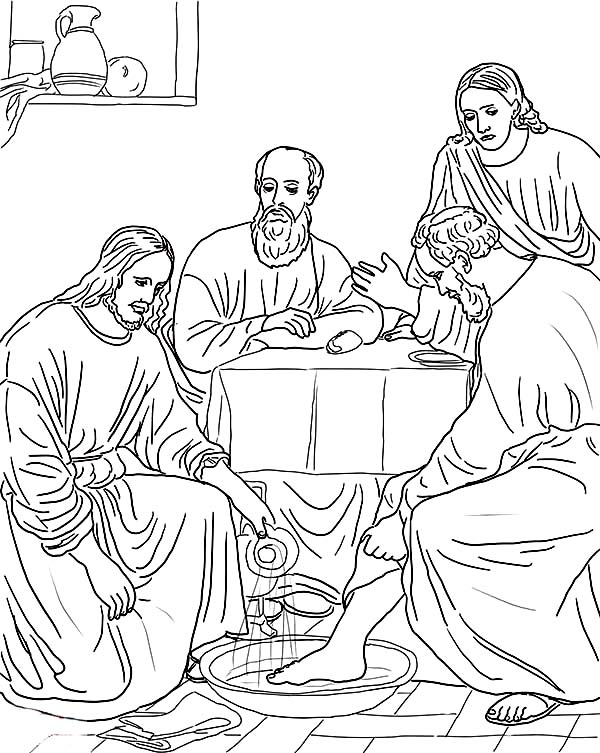 600x753 Jesus Washes The Disciples Feet Coloring Page