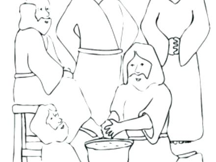 440x330 Jesus Washes The Disciples Feet Coloring Page Tells Disciple