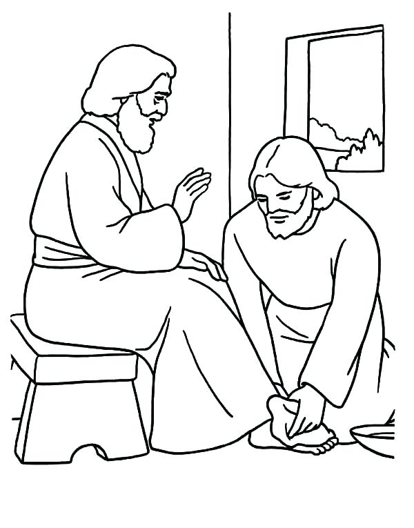 600x765 Jesus Washes The Disciples Feet Coloring Page Washes The Disciples