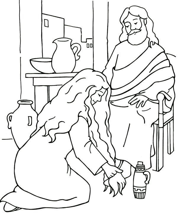 609x726 Woman Washes Jesus' Feet Coloring Page Bible