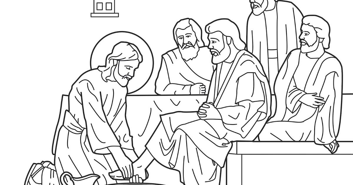 1200x630 Jesus Washes His Disciples Feet Coloring Pages Easter