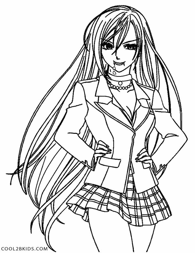 800x1038 Anime Vampire Girl Coloring Pages Printable