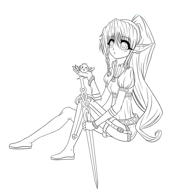 600x676 Images Of Anime Elf Girl Line Art Coloring Pages