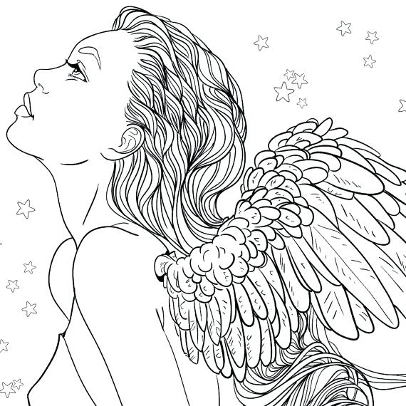 570x570 Adult Coloring Page Fantasy Girl Angel Line Art Female Christmas
