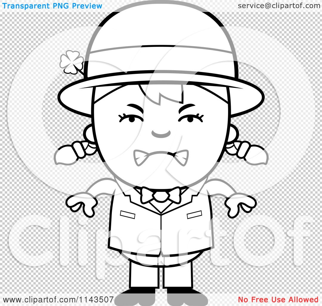 1080x1024 Cartoon Clipart Of A Black And White Mad Child Leprechaun Girl