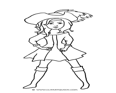 400x322 Girl Pirate Coloring Page
