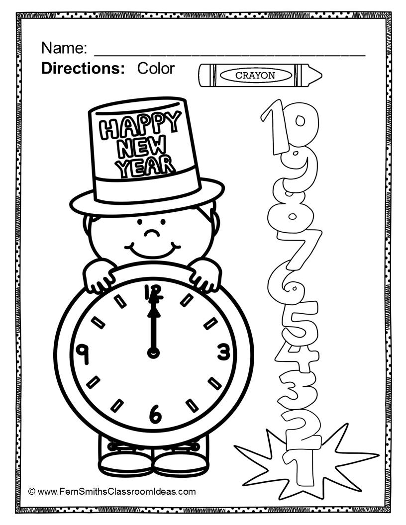 816x1056 Fern's Freebie Friday Free Color For Fun New Years And Winter