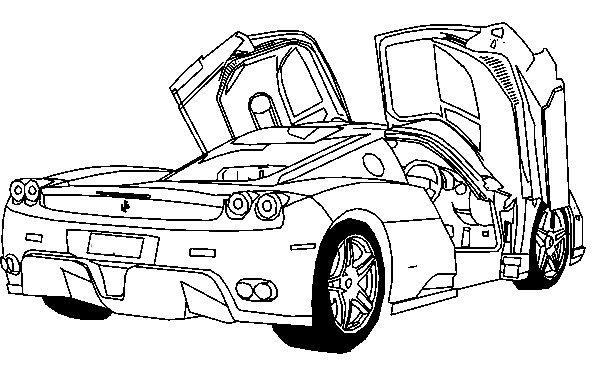 592x367 Deluxe Ferrari Sport Car Coloring Page