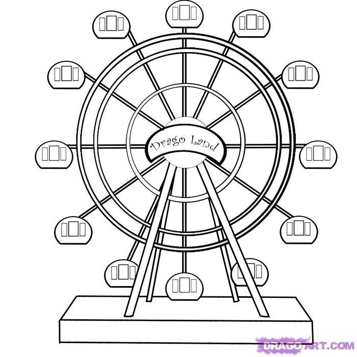 700x700 Ferris Wheel Coloring Pages How To Draw A Ferris Wheel, Step