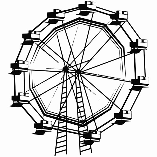 525x524 An Image Of A Ferris Wheel Printable Image Illustration Sketch