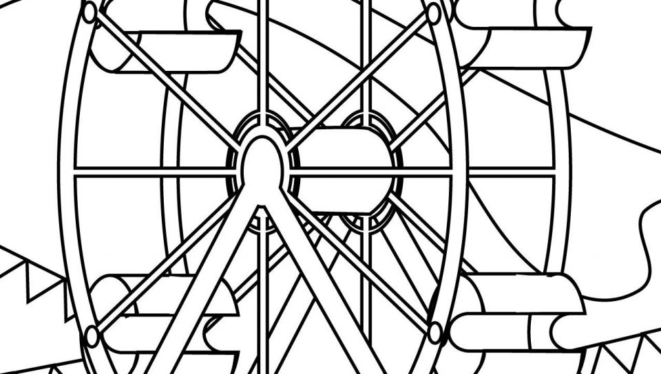 960x544 Funky Wheel Coloring Page Frieze