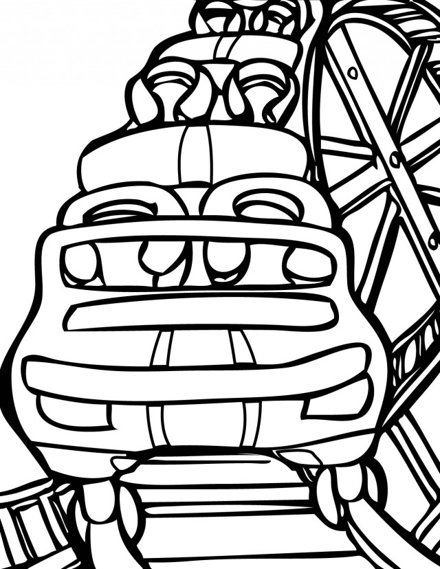 640x828 Rollercoaster Coloring Page Handipoints Amusement Park