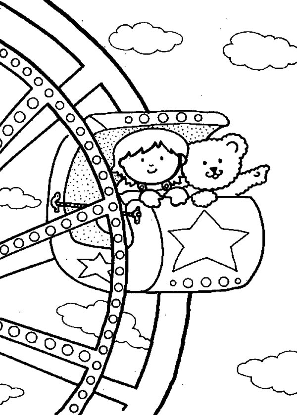 600x839 Watching View From Ferris Wheel Carnival Coloring Pages Best