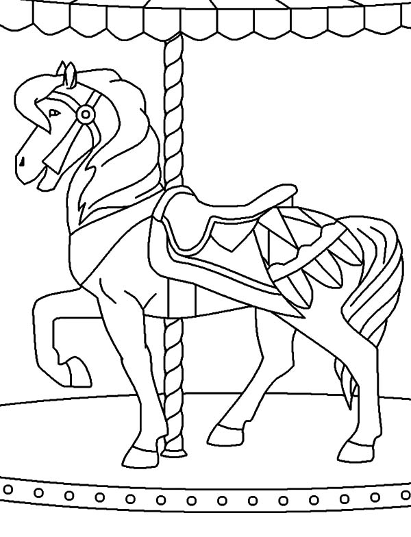 600x784 Coloring Pictures Of Horses Ferris Wheels Carnival Carousel Horse
