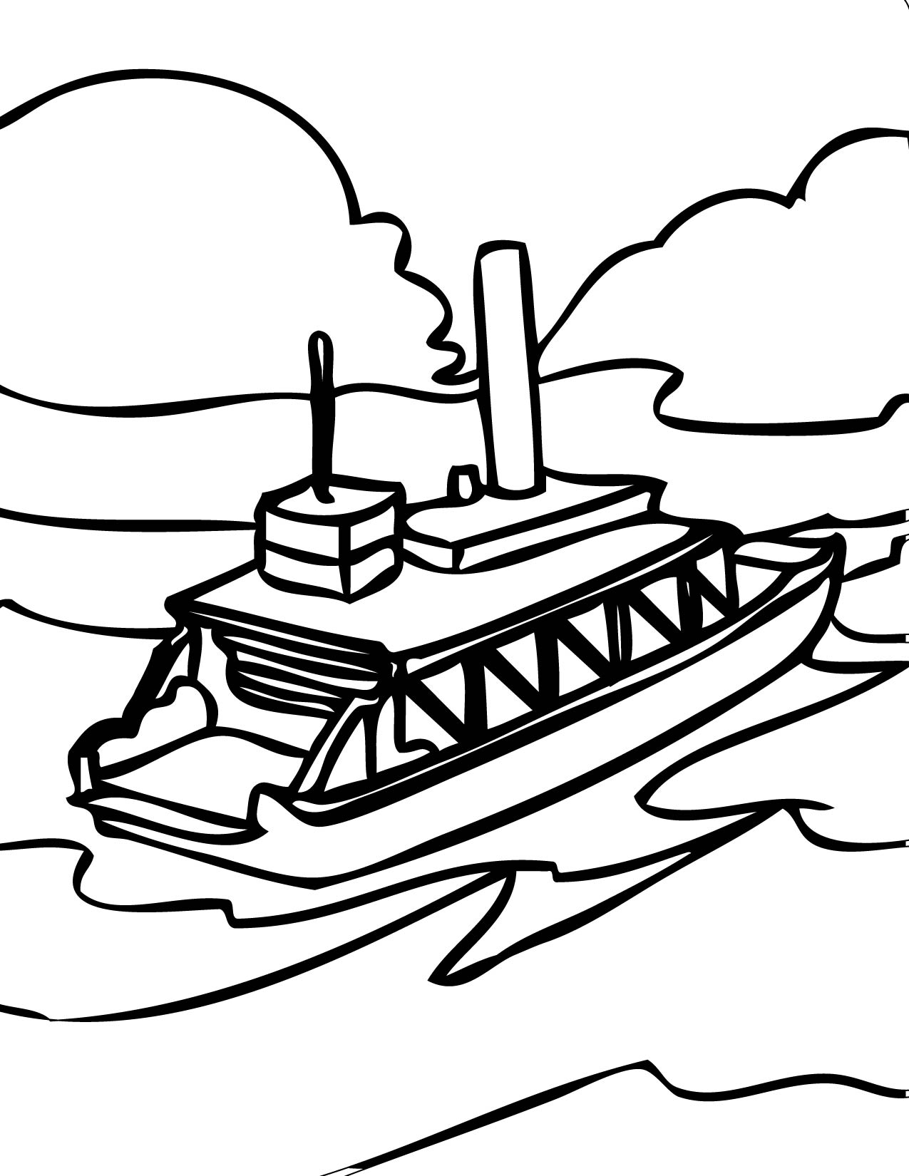 1275x1650 Ferry Boat Coloring Page