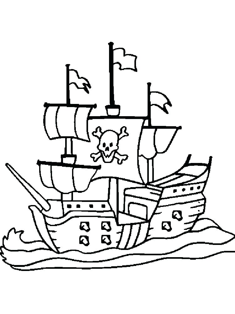 750x1000 Pirate Ship Coloring Page Free Printable Boat Pages For Kids Best