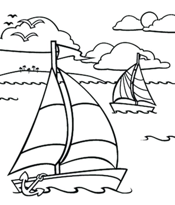 600x704 Sailing Boat In The Ocean Coloring Pages Batch Coloring Sailing