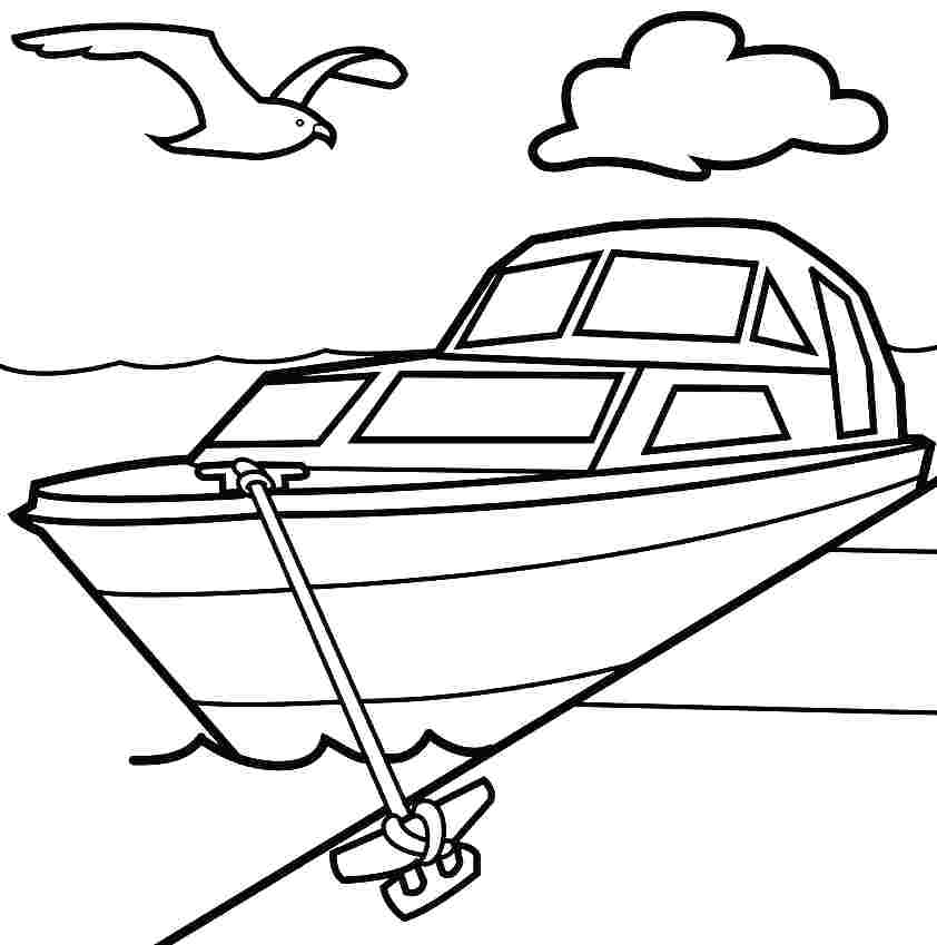 842x849 Boat Coloring Pages