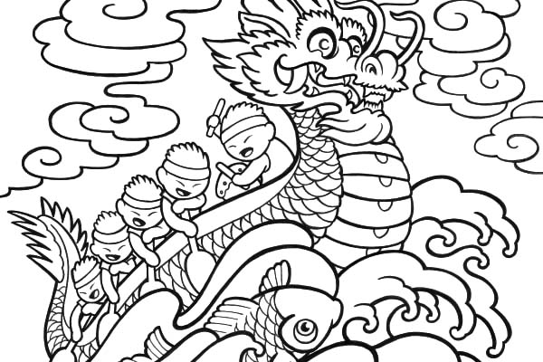 600x400 Chinese Dragon Boat Festival Coloring Pages