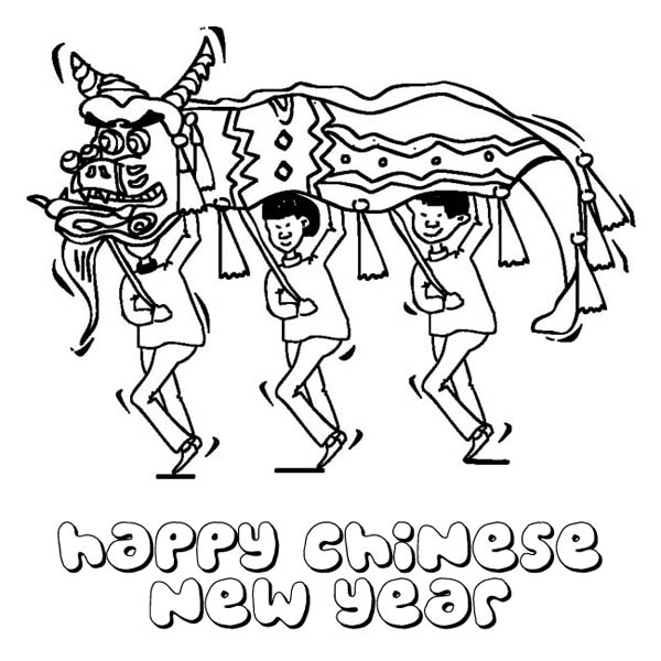 600x600 Chinese New Year With Dragon Festival Coloring Page