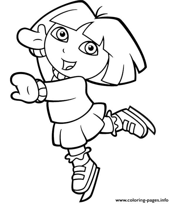 590x697 Dora Explorer Ice Skating Coloring Pages Printable