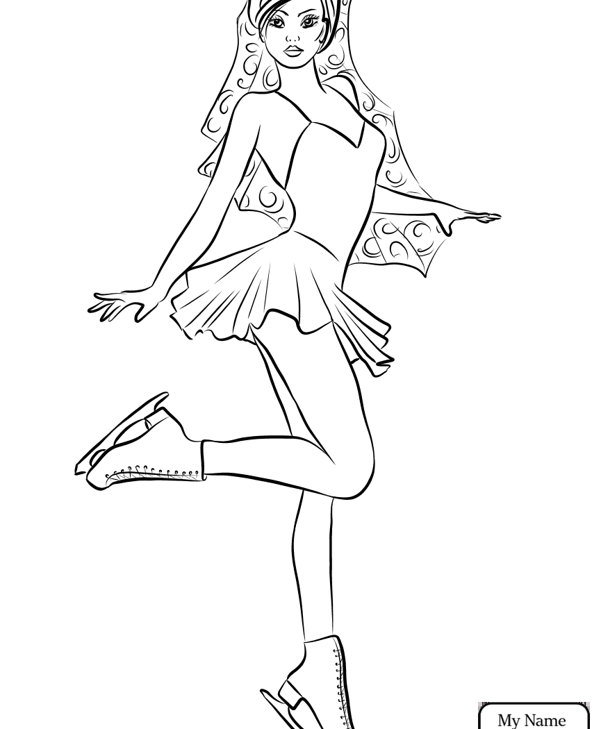 865x1050 Great Hello Kitty Ice Skating Coloring Pages With Figure