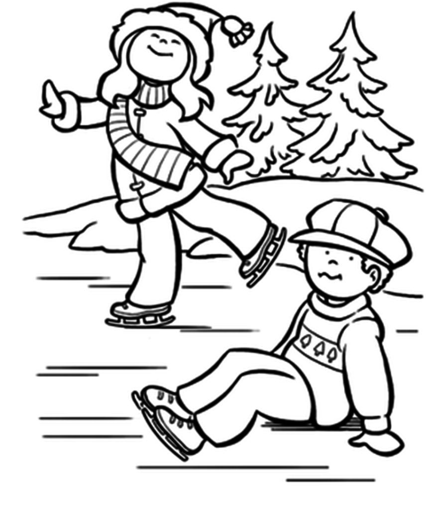 896x1024 Ice Skating Coloring Pages