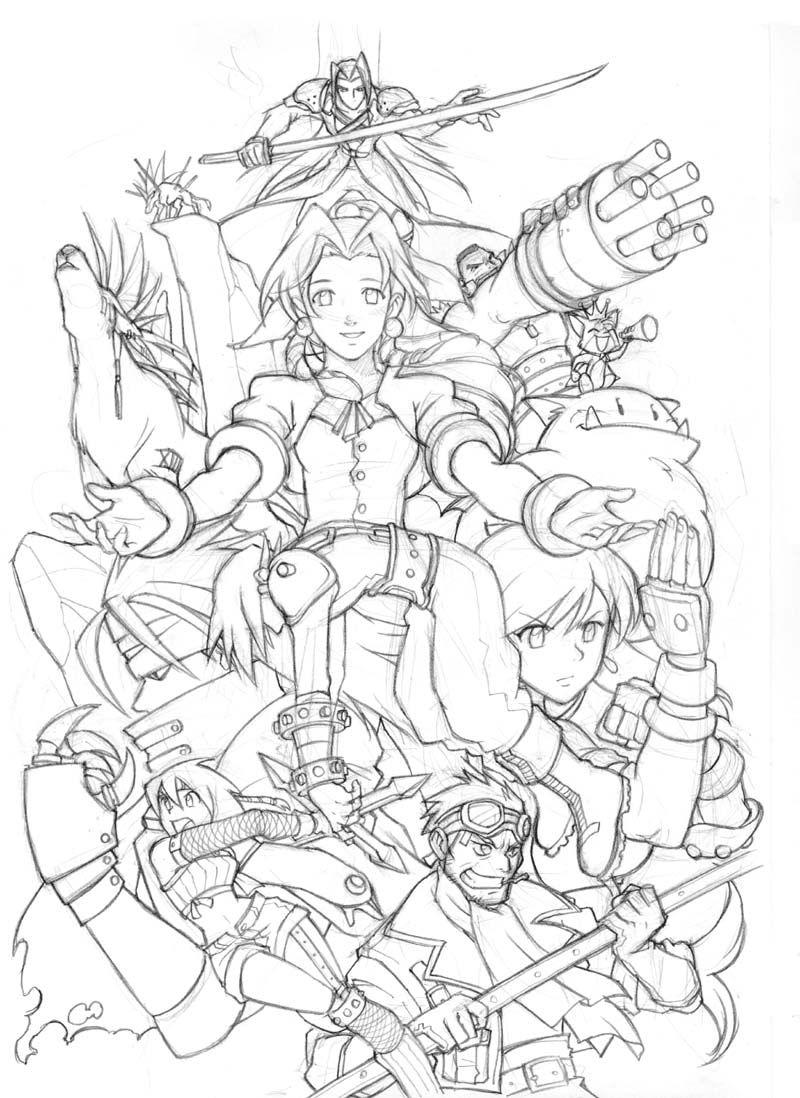 800x1098 Final Fantasy Vii Team Artes Para Colorir Final