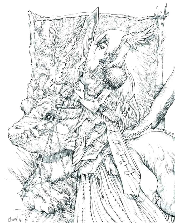 736x940 Fantasy Coloring Pages For Adults Also Final Fantasy Coloring