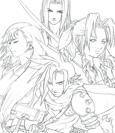 370x429 Final Fantasy Coloring Pages Adult And Kids On Regarding Brilliant