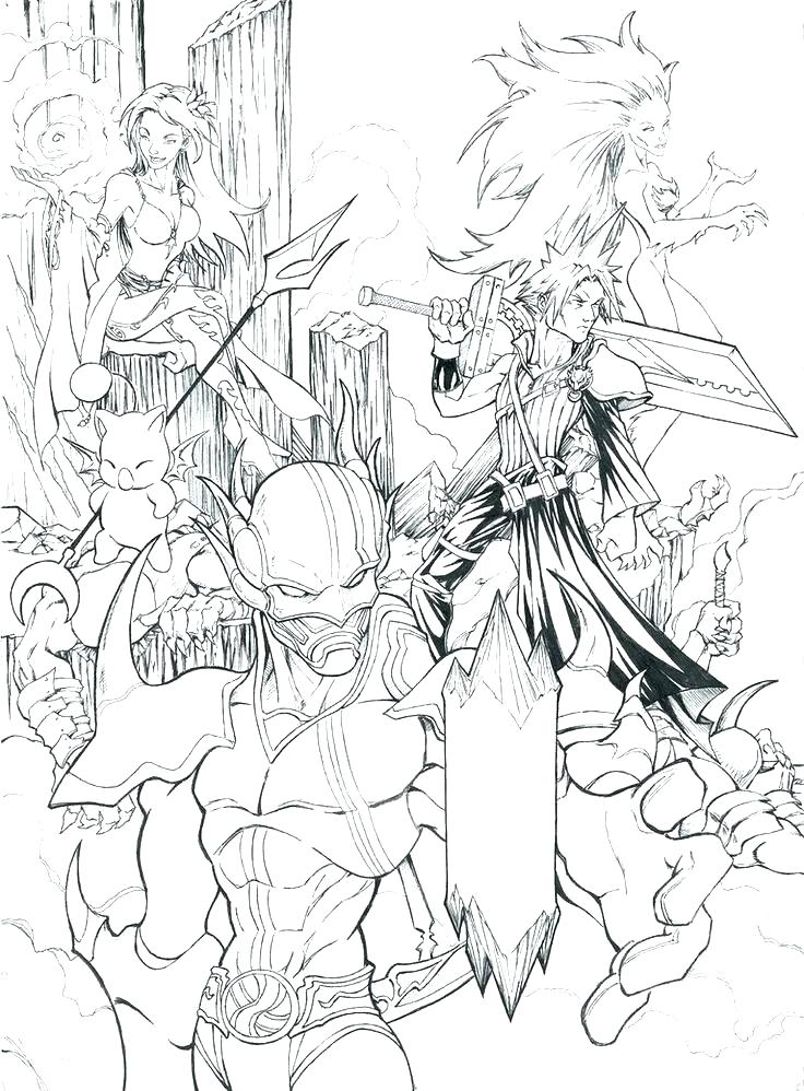 736x998 Final Fantasy Coloring Pages Final Fantasy Coloring Pages