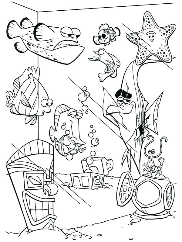 600x796 Nemo Coloring Pages Coloring Page Finding Fish Tank Coloring Page